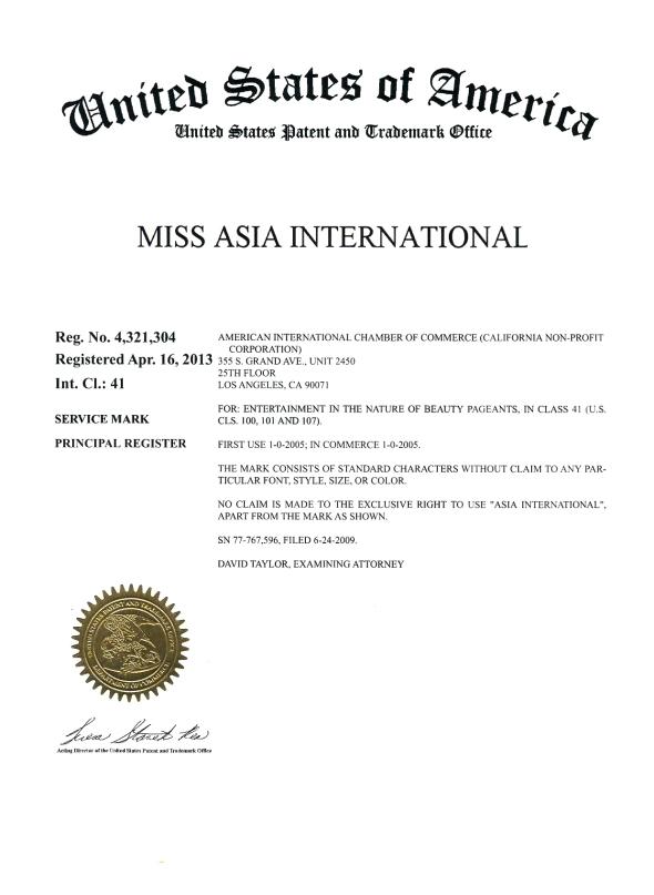 Trademark of Miss Asia International 041613